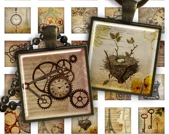 75% OFF SALE Digital Collage Sheet Steampunk - 1 inch square size 25mm image for pendants glass cabochons charm resin digital image magnets