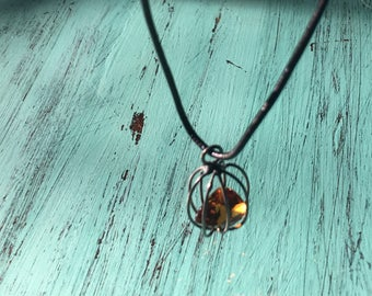 Blackened Sterling Silver Cage Necklace