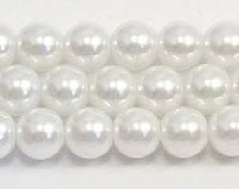 6mm White Glass Pearl Beads One 16 inch strand Grade AAA 6mm white glass pearls