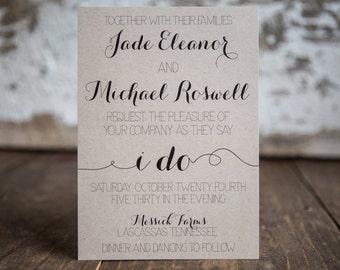 I Do Wedding Invitaitons, Rustic Invitation, Calligraphy Invitation- Calligraphy Wedding Suite : A7 Wedding Invitations