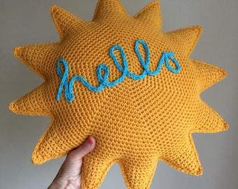 Hello Sunshine Cushion Pdf Crochet Pattern - Crochet Cushion Pattern - Sun Pillow - Crochet Sunshine Pillow - Crochet Sun Pattern