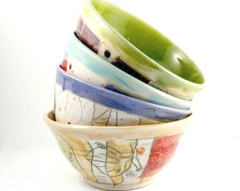 Ceramic Bowl Set of 4, Wedding Couple Gift, Ramen Bowls, Ceramics and Pottery, Pho Soup bowls, Noodle Bowls, 9th Anniversary Gift