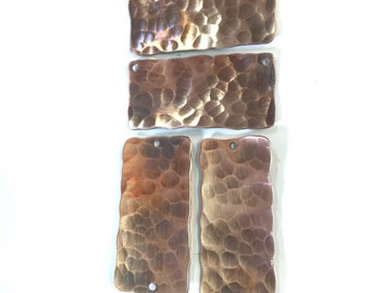 Hammered Rectangle Copper or Brass Charms - Qty 4 pieces FREE SHIPPING US