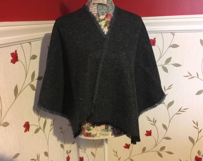 Irish Shawl - Celtic Wrap - Stole - 100% Irish Wool - Navy Herringbone