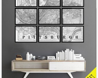 Pittsburgh Map. FRAMED Map set of 9 Archival Prints. 11x14 or 12x12 prints