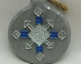 Silver & Blue Snowflake ornament