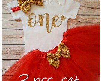 Red and Gold first birthday outfit,first birthday outfit,first birthday girl outfit,birthday tutu,Red tutu,girl birthday outfit