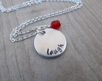 "Inspiration Necklace- ""laugh"" with an accent bead in your choice of colors- Hand-Stamped Jewelry"