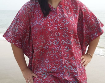 Smokey Red Bali Batik Top Tunic Kaftan Caftan Poncho Dress Blouse Loungewear Summer Beach Cover Up Party Pregnant Regular Size 1X 2X 3X