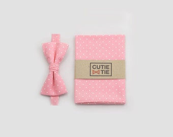 Pink Pocket Square And Bow Tie Ring Bearer Bow Tie Pocket Square Set Boys Pink Polka Dots Bowtie