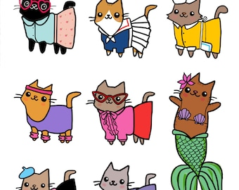 Cute Cat Sticker Sheet Kawaii Cat Stickers Mermaid Cat French Fitness Cute Gift for Her