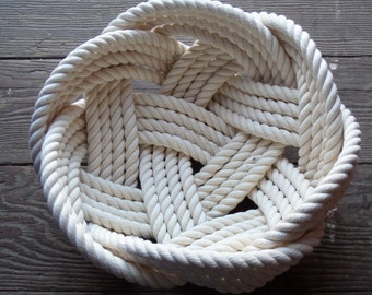 "Nautical Decor Cotton Rope Bowl Basket 10"" x 5"" Tightly Woven Beach Marine Ocean Coastal Rustic FREE SHIP"