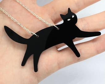 "Black Laser Cut Acrylic Cat Necklace 20"" Silver Chain"