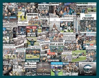 Philadelphia Eagles 2018 Super Bowl Newspaper Front-Page Headline Collages Print