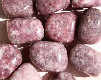 LEPIDOLITE Crystals (Grade A Natural) Tumbled Polished Stones Gemstone Rocks for Healing, Yoga, Meditation, Reiki, Crafts, Jewelry Supplies
