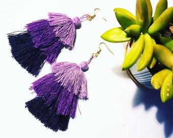 Tiered Purple Tassel Boho Statement Earrings