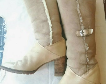 Awesome 70s Shearling Tall Hippie Goddess Winter Boots