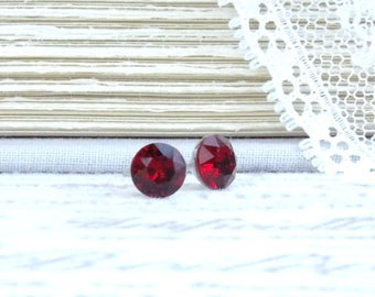 Red Crystal Studs 6mm Earrings Red Stud Earrings Crystal Stud Earrings Swarovski Studs Surgical Steel Studs