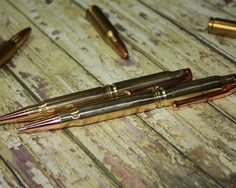 Bullet pen and pencil set, 308 bullet ink pen with black ink and pencil with copper accents, gift for him, gift for dad, groomsmen gift