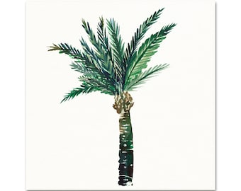 Vintage Style Tropical Palm Tree Watercolor Art Print. Palm Tree Painting. Tropical Beach House Art Prints. Watercolor Palm Tree Art Print.