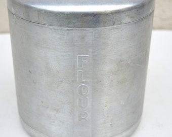Vintage Spun Aluminum Kitchen Flour Canister, Made in Italy, Mid-Century
