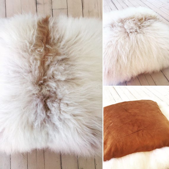 Exclusive handmade Sheepskin and suede cushion brown delicate and soft from Norwegian norse sheep
