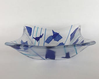 Clear, Bubbly, And Blue Dazzling Fused Glass Candy Bowl. Buy The Perfect Conversation Starter And Centerpiece For Your Home