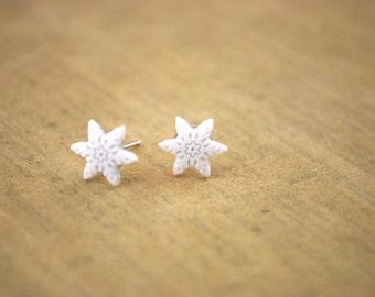 Snowflake Earrings -- Studs, White Snowflakes, Tiny Snowflake Studs