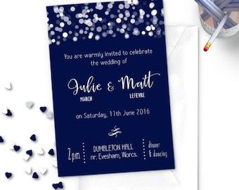 Navy Glittering Lights Wedding Invitation, printed card
