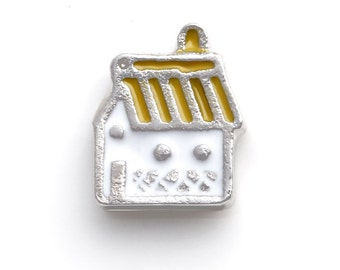 Yellow house Floating Charms for Living Lockets, Glass Memory Lockets