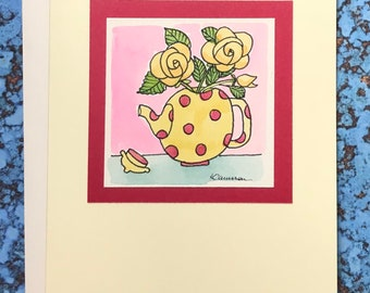 Teapot with Yellow Roses~ No Caption