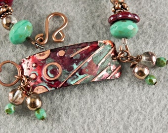 Beaded Bracelet with Hand Painted and Embossed Connector