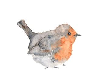 Watercolor painting, watercolor bird painting, bird art, animal illustration, bird print, English robin, grey, orange, rustic - 10X8 print