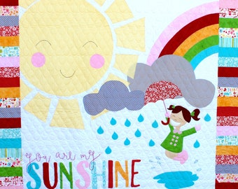 Children's Quilt: You Are My Sunshine. Nursery Quilt. Crib blanket. Applique quilt. embroidery quilt. small child quilt. Baby girl quilt.