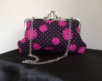 High Heel Hot Pink Flower Clutch Purse Gift