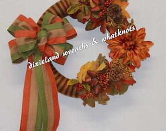 Fall Wreath, Fall Yarn Wreath, Yarn Wreath, Autumn Wreath, Autumn Yarn Wreath