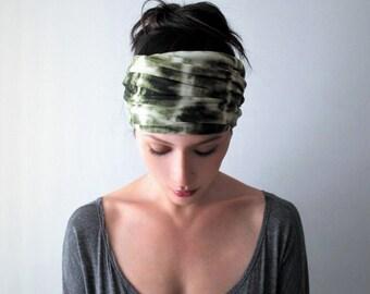 TIE DYE Headband, Olive Green Headband, Tie Dye Head Scarf, Boho Headband, Extra Wide Head Scarf, Jersey Headband, Alopecia Headband