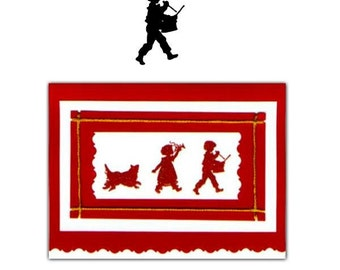 DRUMMER BOY Silhouette small, unmounted music rubber stamp, marching band, Christmas, Halloween trick or treaters,Sweet Grass Stamps No.1