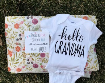 Mother's Day Pregnancy Announcement Gift For Mom, Hello Grandma Pregnancy Announcement Onesie®  Gift Box Set / Bodysuit / Pregnancy Reveal