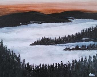Foggy Mountain Valley landscape