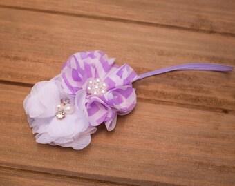 Lilac and white chevron rhinestoned skinny headband