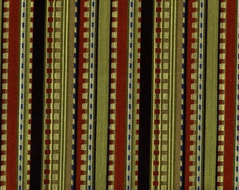 Green Red Striped UPHOLSTERY FABRIC Designer Yardage