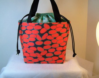 """Insulated Lunch Bag, 4""""by7"""" Drawstring Lunch Box, Dark Orange Cosmetic Sack, Lunchbag"""