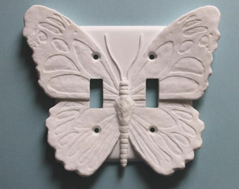 White Butterfly Decor LIght Switch Plate wall cover double toggle switchplate outlet flowers Carved  Gifts Sculptures Ornaments Decorative