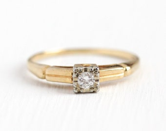 Vintage Diamond Ring - 14k Rosy Yellow & White Gold 1/10 CT Diamond - Size 6 3/4 Two Tone 1940s Art Deco Engagement Wedding Fine Jewelry