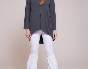Womens blouse, boat neck shirt, high to low long sleeved shirt, dark grey shirt, casual wear,  sizes : XS / S / M / L / Xl