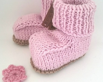 Wool booties;  booties; knitted booties;  new baby gift; baby shower gift; natural baby gift; ethical baby gift; wool baby booties