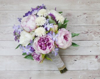 Boho Bouquet - Boho, Peony Bouquet, Wildflower Bouquet, Lavender, Purple, Boho Chic Wedding, Beach Wedding, Wedding Flowers, Purple Bouquet
