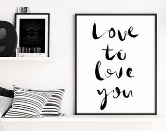 Love Wall Art, Modern Minimalist, Inspirational Quotes, Black and White, Inspirational Art, Home Gallery, Modern Home, Large Scale Art