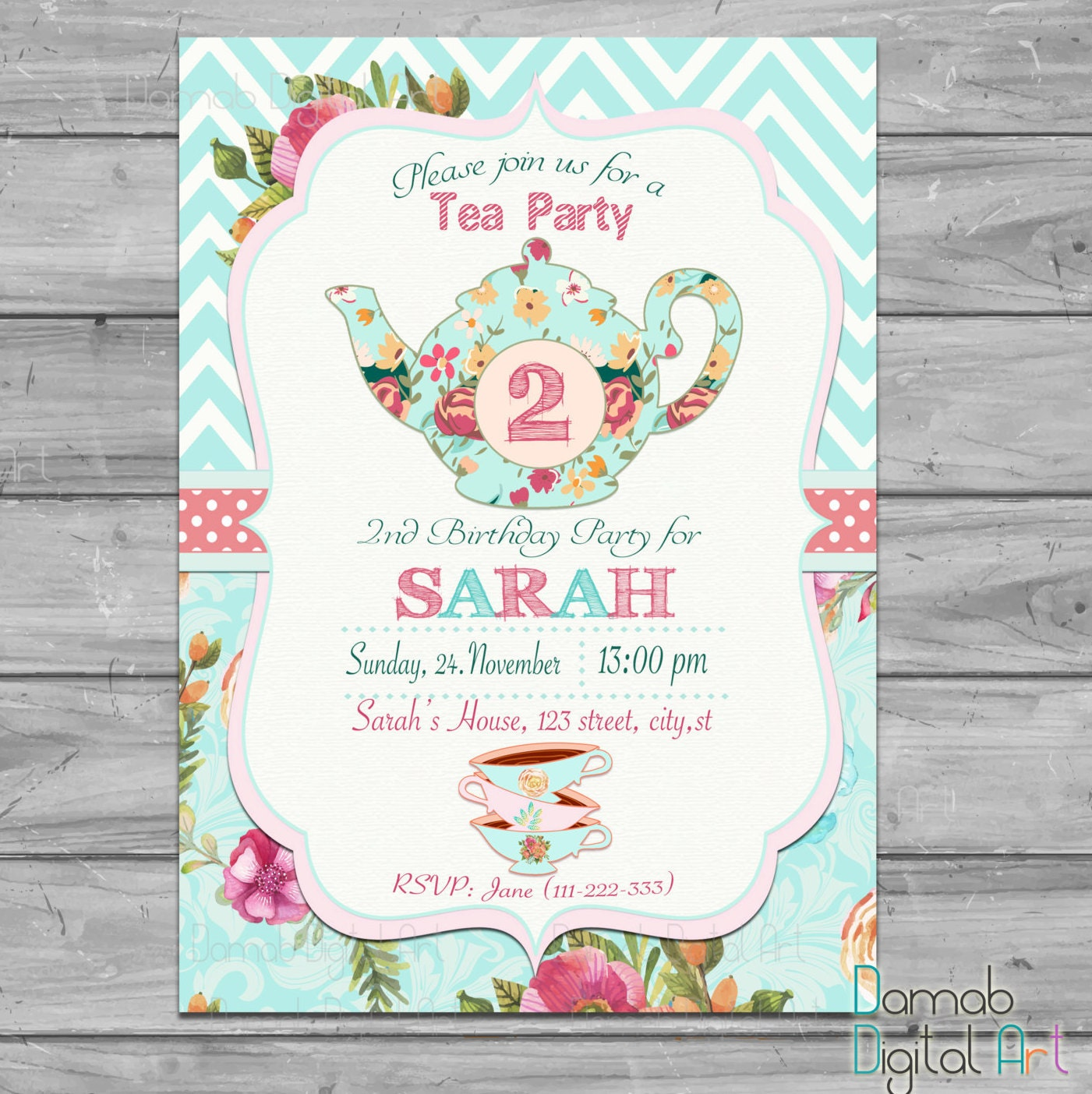 Tea Party Invitation For Two 2